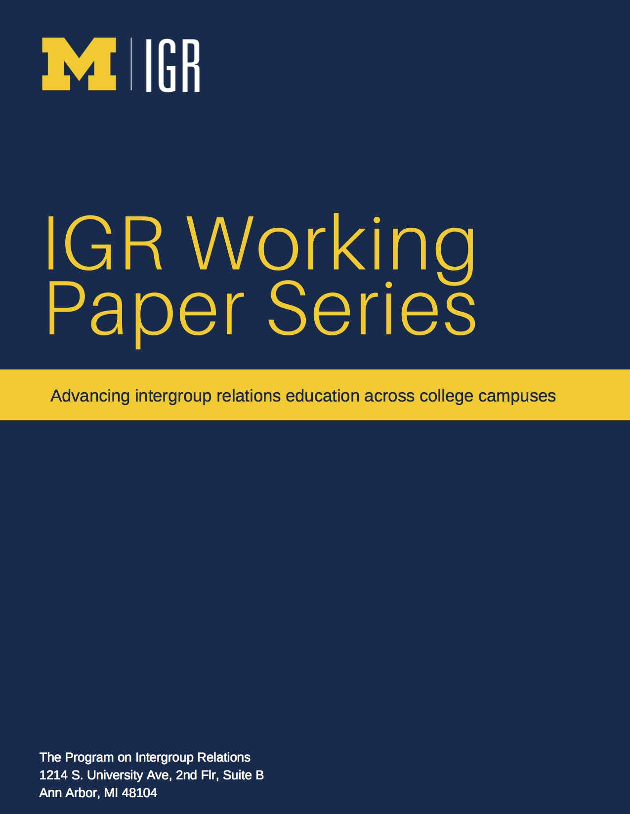 Working Paper Series | Intergroup Relations