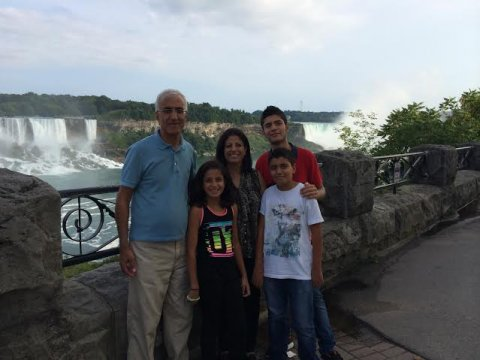 Dr. Manal Yazbak-Abu Ahmad enjoying a summer visit from her husband and two children.