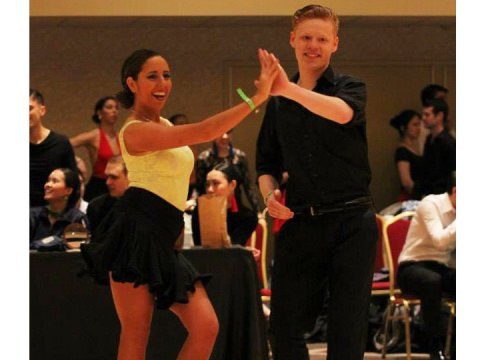 Nicole Rixen and dance partner show off their dance talents.