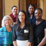 Theresa Tran is pictured with IGR Co-Directors and IGR Alumni Committee Co-Chairs