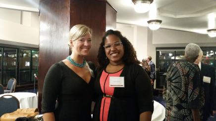 Photo of Clare Wrobel and Britany Gatewood at the 2014 National Dialogue Awards