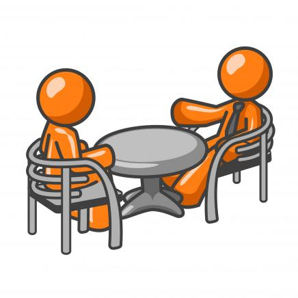Clip art of two people interviewing