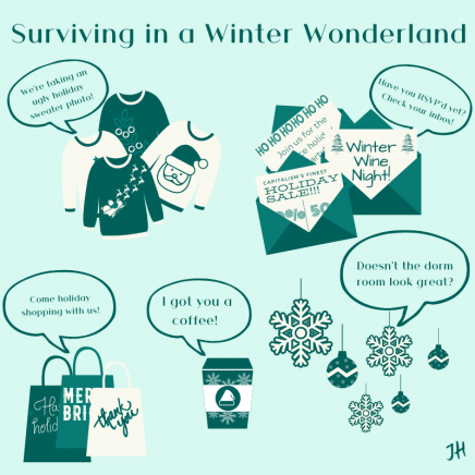 "Graphic art by Jessica Hobbs titled ""Surviving in a Winter Wonderland"""