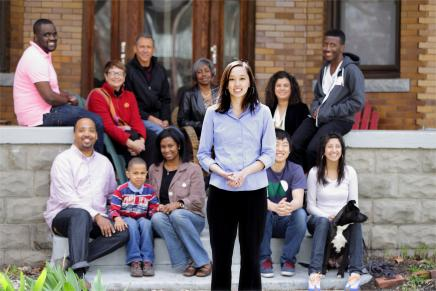 Photo of Stephanie Chang with constituents